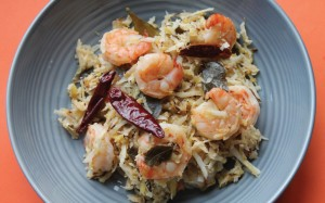 Prawns Indian Style with Mango and Coconut